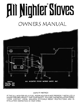 "Dirt Bike Snowmobile >> All Nighter ""Moe"" Air Tight Wood Stove Owners Manual"