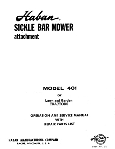 Haban 401 Garden Tractor Sickle Bar mower owners manual w/ parts list
