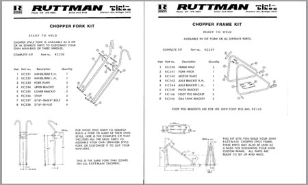 1971 Ruttman Grasshopper Chopper mini bike Plans & Parts List