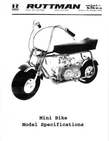 1971 Ruttman mini bike Specifications all models