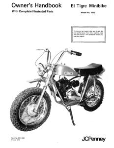 Speedway Jc Penney El Tigre Mini Bike Owners Manual W Parts List