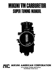 Mikuni Sbn 38 adjustment Manual